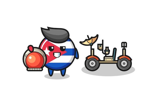 Il simpatico distintivo della bandiera cubana come astronauta con un rover lunare, design in stile carino per t-shirt, adesivo, elemento logo