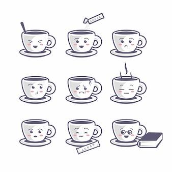Set di icone di caffè carino tazza, stile cartone animato piatto