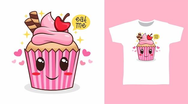 Disegno della maglietta dei cartoni animati di cupcake carino