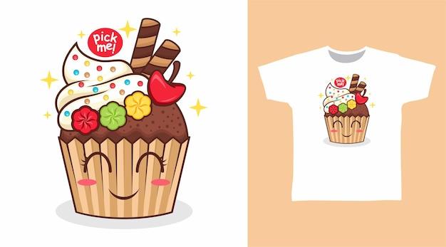 Simpatico cupcake con disegno della maglietta con bastoncini di cioccolato