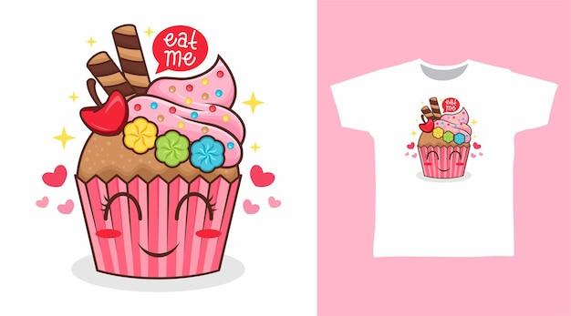 Simpatico cupcake con motivo a t-shirt ornamentale