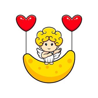 Simpatico cupido galleggiante con luna e palloncino a cuore