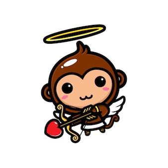 Carino cupido scimmia tiro con l'arco con amore Vettore Premium