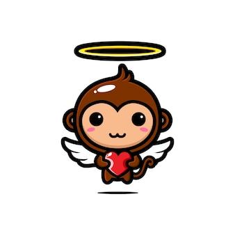 Simpatiche scimmie cupido che abbracciano cuori d'amore Vettore Premium