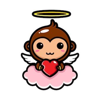 Simpatiche scimmie cupido che abbracciano cuori d'amore