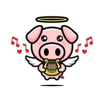 Simpatico maiale cupido che suona l'arpa