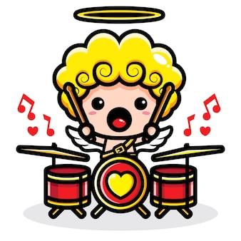 Cupido carino che suona la batteria piena di amore