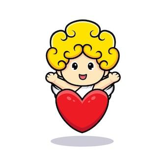 Carino cupido agitando la mano dietro il grande cuore