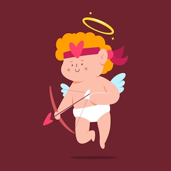 Cupido sveglio con il personaggio dei cartoni animati di arco e freccia isolato su priorità bassa.