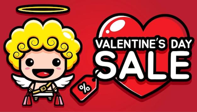 Carino cupido con vendita di san valentino