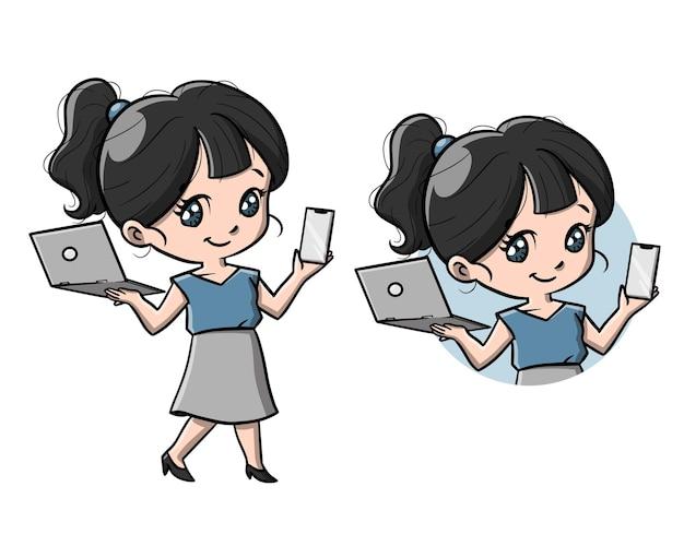 Cute cyber girl cartoon