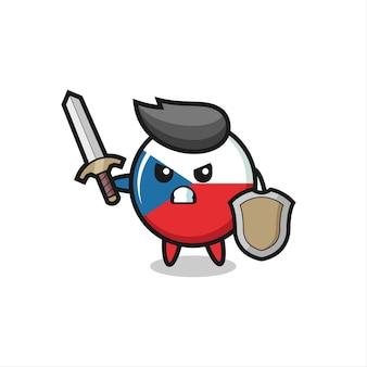 Simpatico soldato con stemma della bandiera della repubblica ceca che combatte con spada e scudo, design in stile carino per maglietta, adesivo, elemento logo