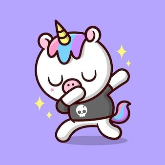 Sveglio unicorno dabbing con capelli colorati e indossando black tee cartoon illsutration