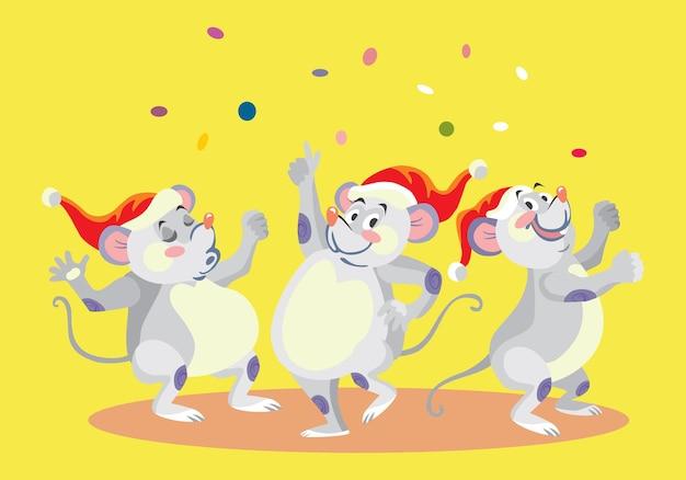 Simpatici personaggi di topi danzanti in cappelli di natale. illustrazione del fumetto di vettore.