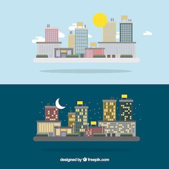 Giorno carino e città di notte