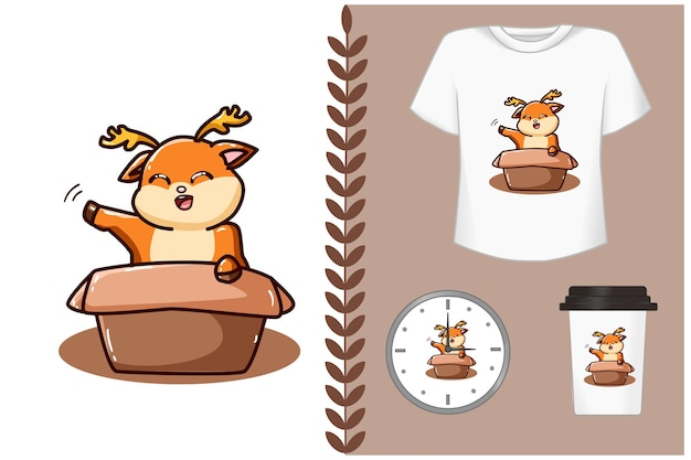 Carino cervo nella scatola cartone animato illustrazione