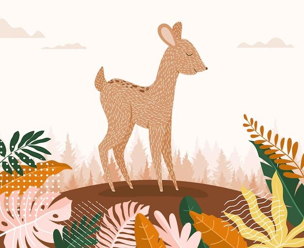Simpatico cartone animato di cervo tra la giungla con foglie e alberi.