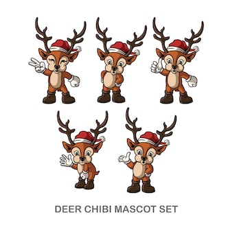 Simpatico set di mascotte natalizie con cervi