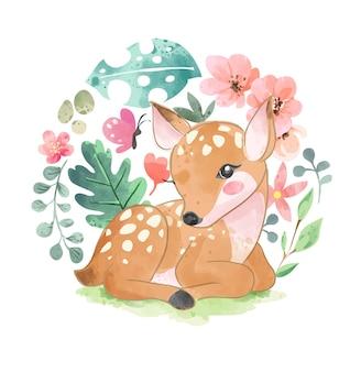 Simpatici cervi e fiori colorati nell'illustrazione di forma del cerchio