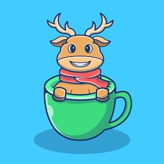 Cervo carino in tazza di caffè. cartoon mascotte dei cervi. elemento di natale in stile cartone animato piatto