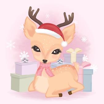 Simpatici cervi e scatole regalo