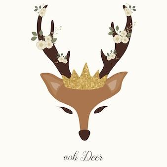 Grafica carina cervo con corno, fiore e corona