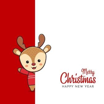 Simpatico cervo che saluta buon natale e felice anno nuovo cartone animato doodle card background