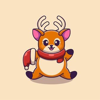 Simpatico cervo che tiene cartone animato cappello di babbo natale