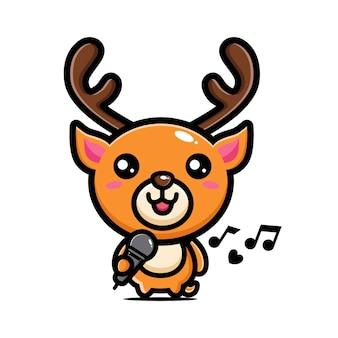 Un simpatico cervo sta cantando
