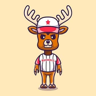 Simpatico cervo che indossa l'uniforme da baseball