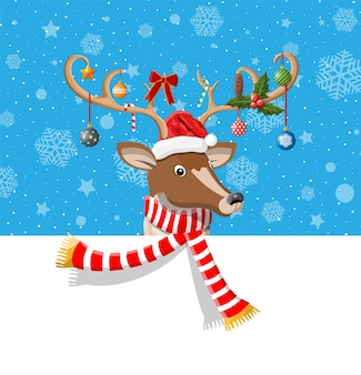 Simpatico cervo con corna, sciarpa, agrifoglio, fiocco, palline