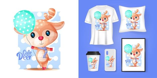 Cervo carino con palloncini cartoon e merchandising