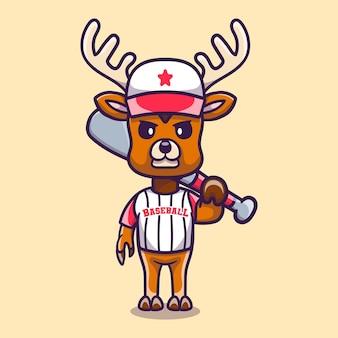 Simpatico cervo con mazza da baseball