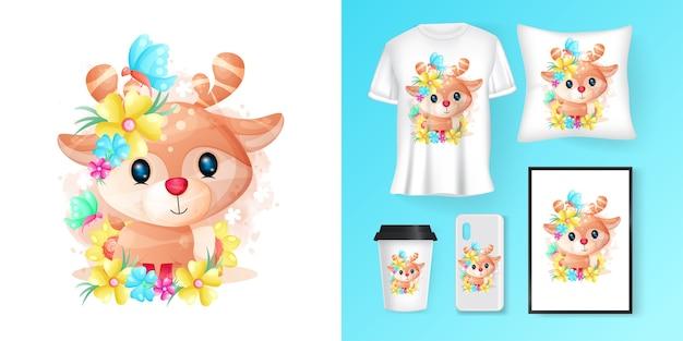 Simpatico cervo con fiori cartoon e merchandising