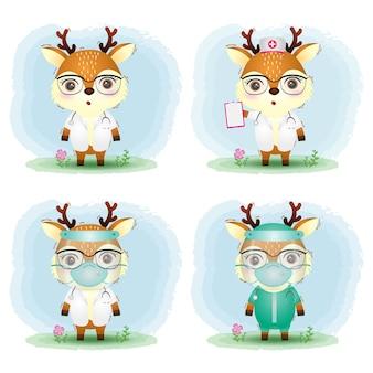 Simpatico cervo con collezione di costumi di personale medico e infermiera