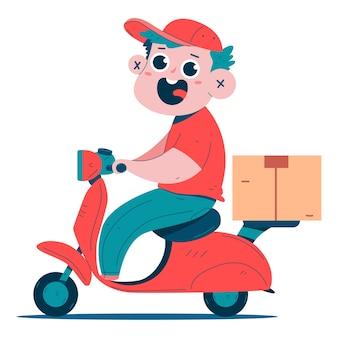 Carattere sveglio del ragazzo di consegna sull'illustrazione del fumetto del motorino isolato su una priorità bassa bianca.