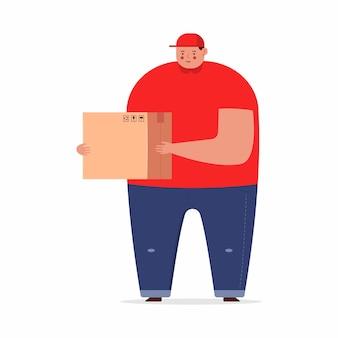 Uomo di consegna carino con personaggio dei cartoni animati di scatola isolato su uno sfondo bianco.