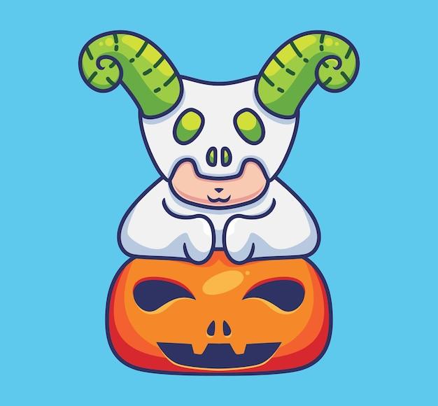 Simpatico demone cornuto su una zucca fumetto isolato illustrazione di halloween stile piatto adatto