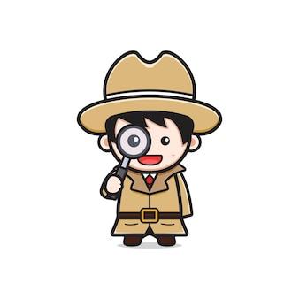 Detective sveglio che tiene un'illustrazione dell'icona del fumetto della lente d'ingrandimento. design piatto isolato in stile cartone animato