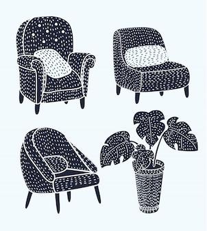 Caratteri di gatti diversi carino sdraiato e appoggiato su poltrone set di illustrazioni