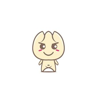Simpatico gnocco kawaii con mascotte cibo dim sum