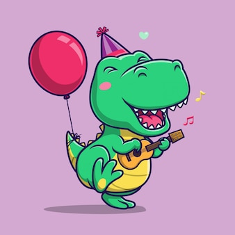 Dino carino cantare e ballare con suonare la chitarra. personaggio dei cartoni animati della mascotte del dinosauro.