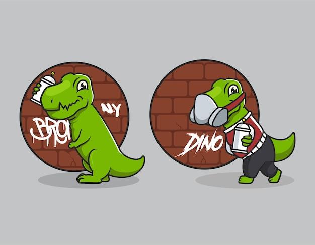 Simpatico disegno della mascotte della cultura urbana dino t rex
