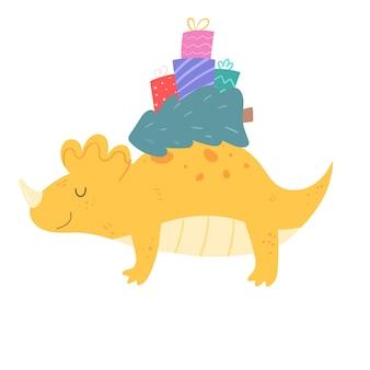 Simpatico dinosauro che porta albero di natale e regali sul retro.