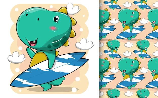 Cartone animato carino dinosauro sta portando una tavola da surf da spiaggia