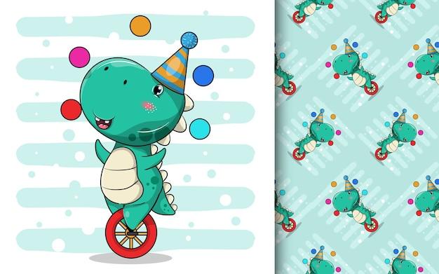 Cartone animato carino dinosauro in sella a un monociclo