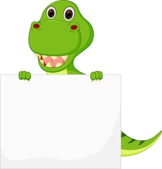 Simpatico cartone animato di dinosauro con segno