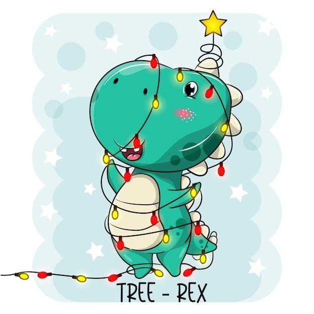 Simpatici cartoni animati di dinosauri trasformati in un albero di natale