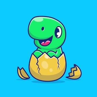 Dinosauro sveglio sull'illustrazione dell'icona dell'uovo della crepa. personaggio dei cartoni animati di dino mascot. icona animale concetto isolato
