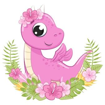 Ragazza carina dinosauro con fiori e una ghirlanda. illustrazione vettoriale di un cartone animato.